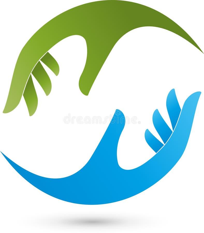 Dois logotipos das mãos, da fisioterapia e da massagem ilustração stock