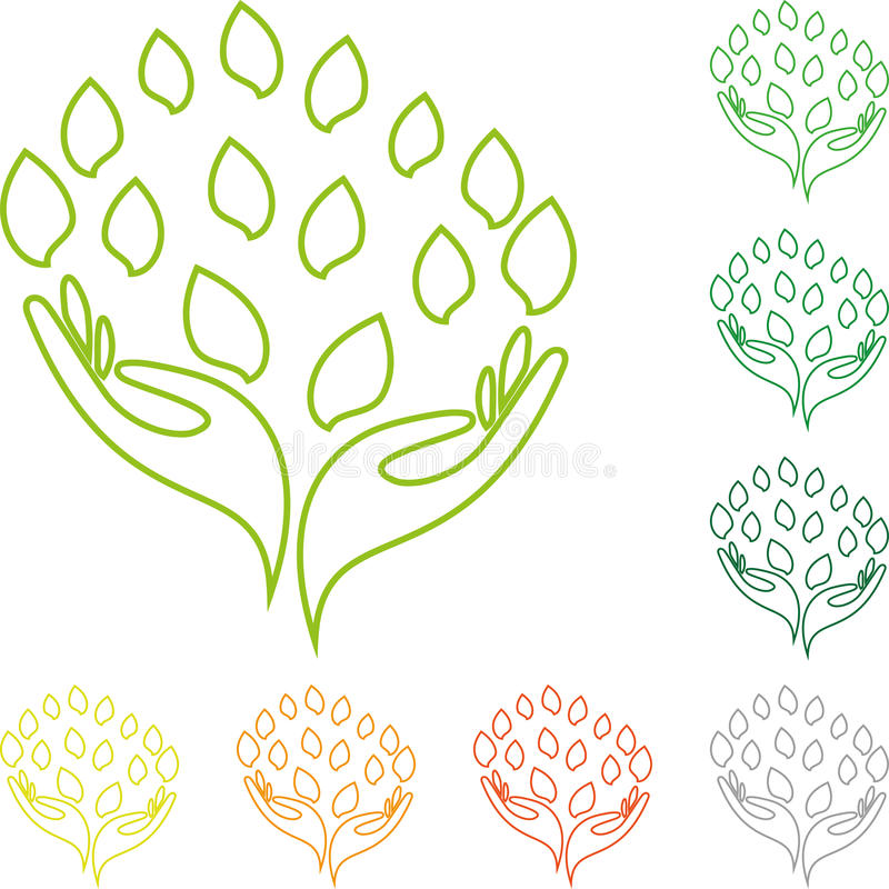 Dois logotipos das mãos e das folhas, do naturopath e do bem-estar ilustração stock