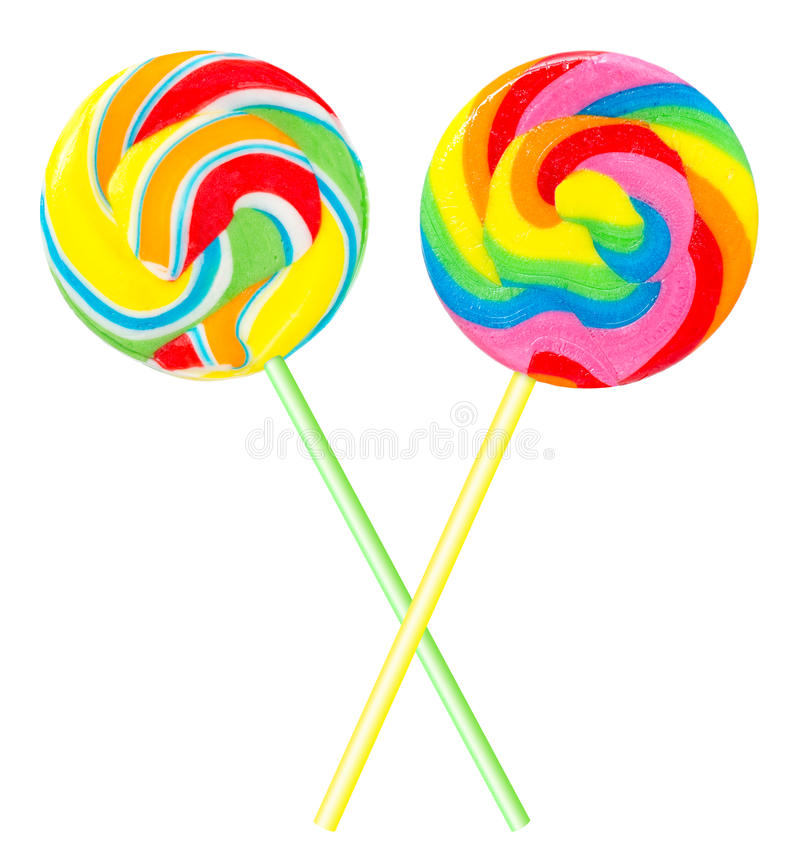 Dois lollipops coloridos foto de stock royalty free