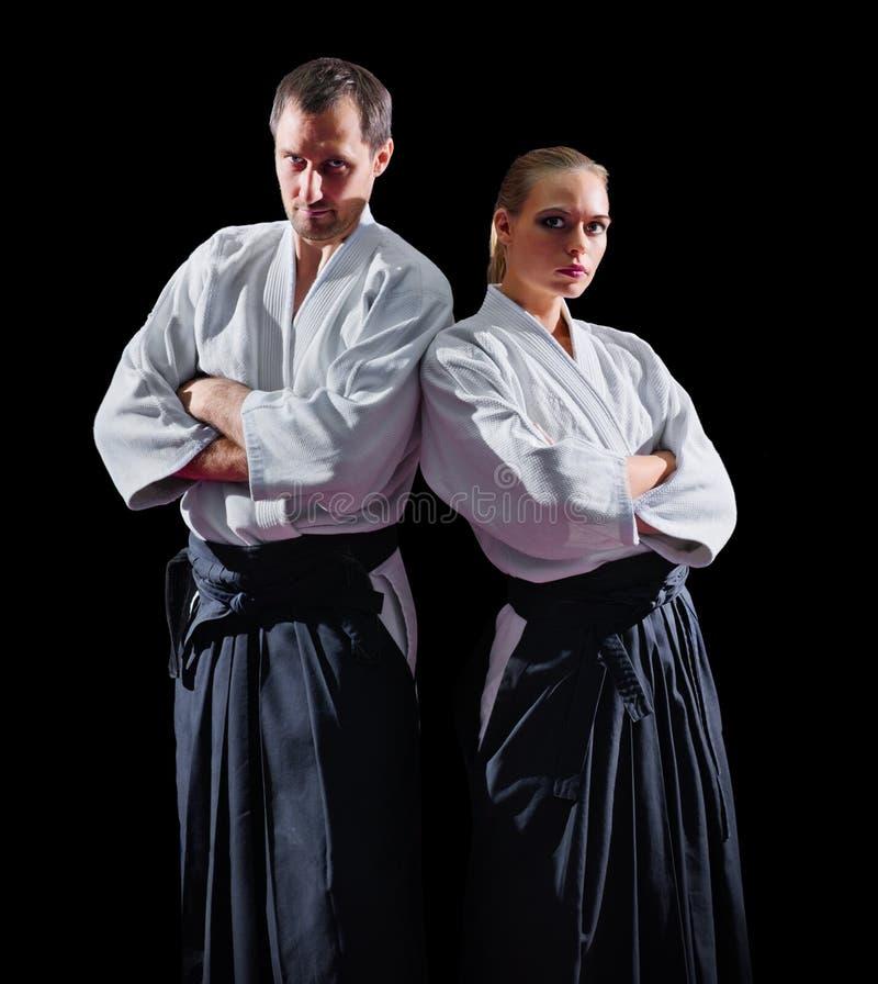 Dois lutadores das artes marciais imagem de stock