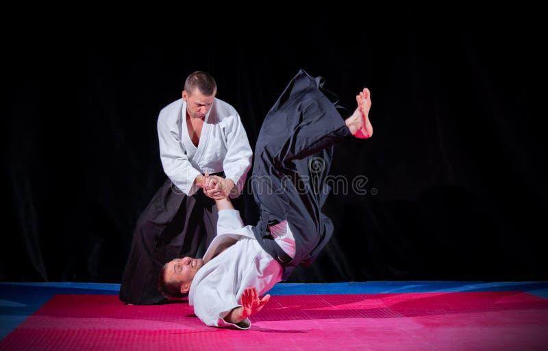 Dois lutadores das artes marciais foto de stock