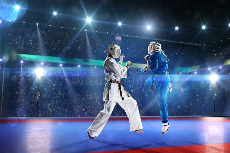 Dois lutadores do kudo estão lutando na arena grande imagens de stock royalty free