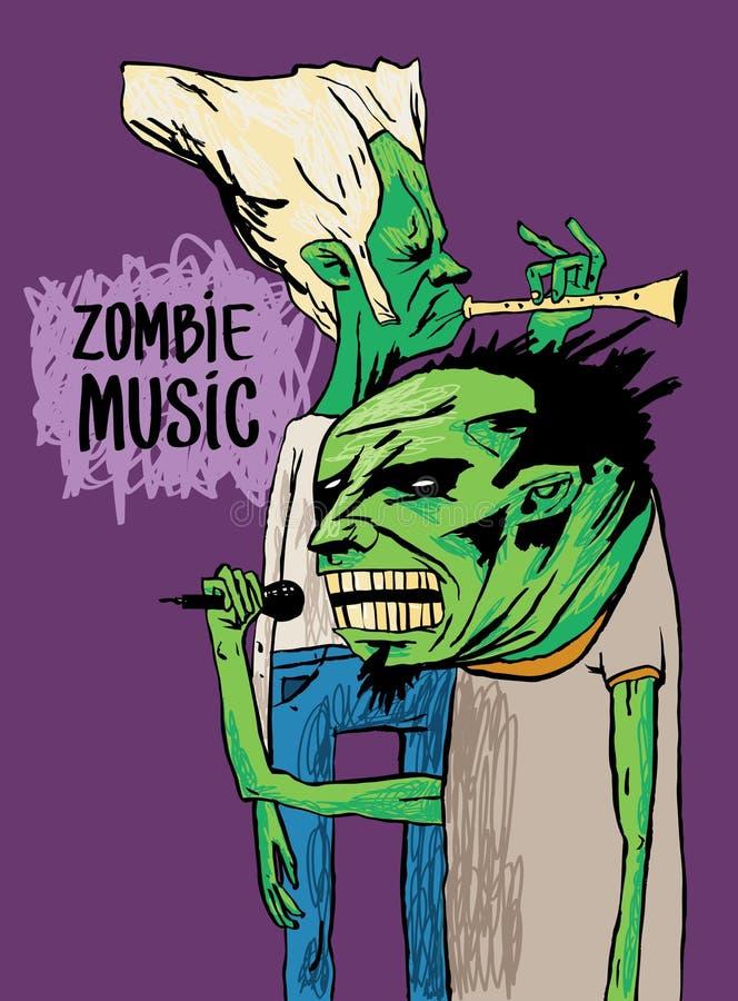 Dois músicos do zombi jogam na trombeta e cantam Um cartaz ou um desenho bonito em um t-shirt ilustração royalty free