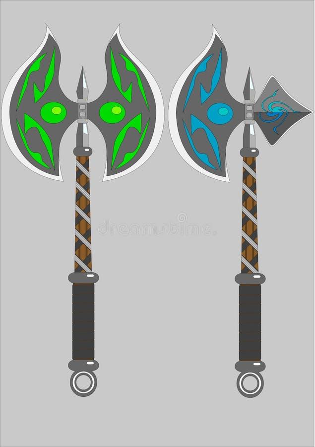 Dois machados isolados da batalha ilustração royalty free