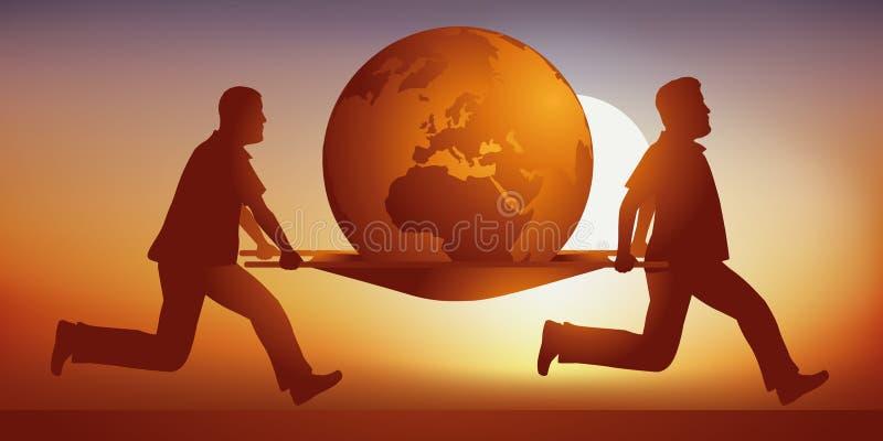 Dois maqueiros levam a terra, doente do aquecimento global ilustração stock