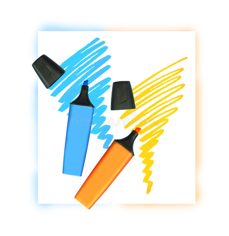 Dois marcadores coloridos fotografia de stock royalty free