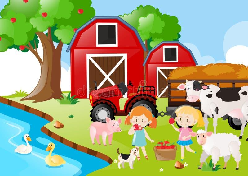 Dois meninas e animais de exploração agrícola pelo rio ilustração do vetor