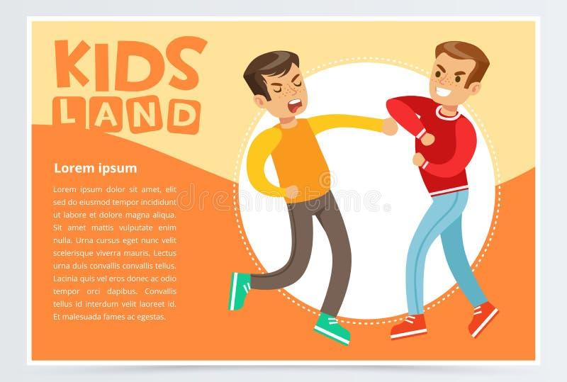 Dois meninos adolescentes que lutam-se, crianças adolescentes que discutem, crianças aterram o elemento liso do vetor da bandeira ilustração stock