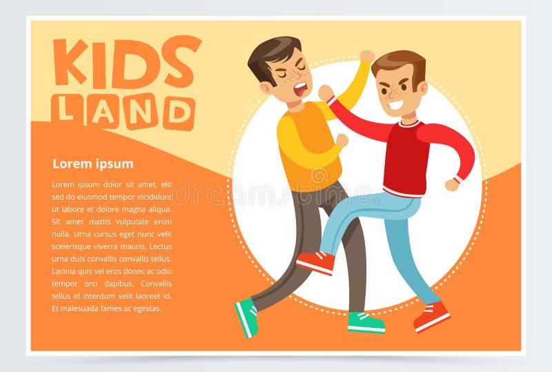 Dois meninos adolescentes que lutam-se, crianças adolescentes que discutem, comportamento agressivo, caçoam o elemento liso do ve ilustração do vetor