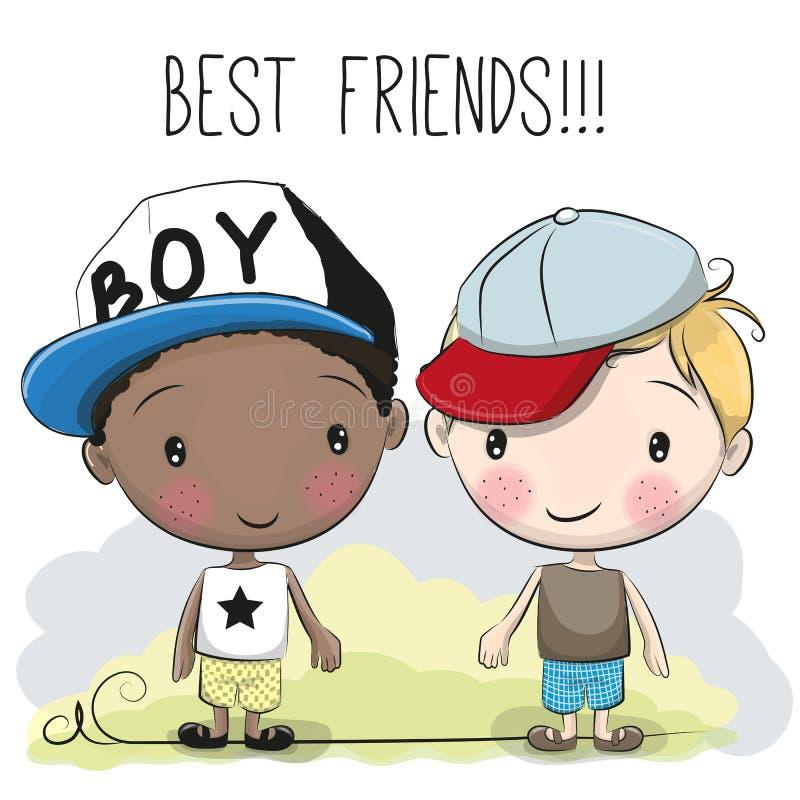 Dois meninos bonitos dos desenhos animados ilustração stock