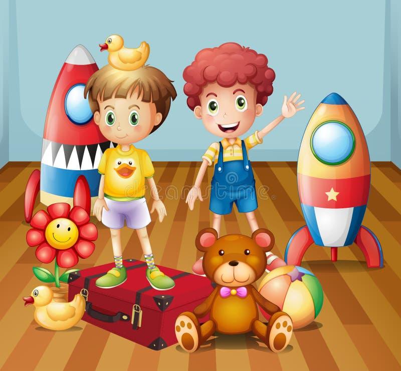 Dois meninos cercados com brinquedos ilustração royalty free