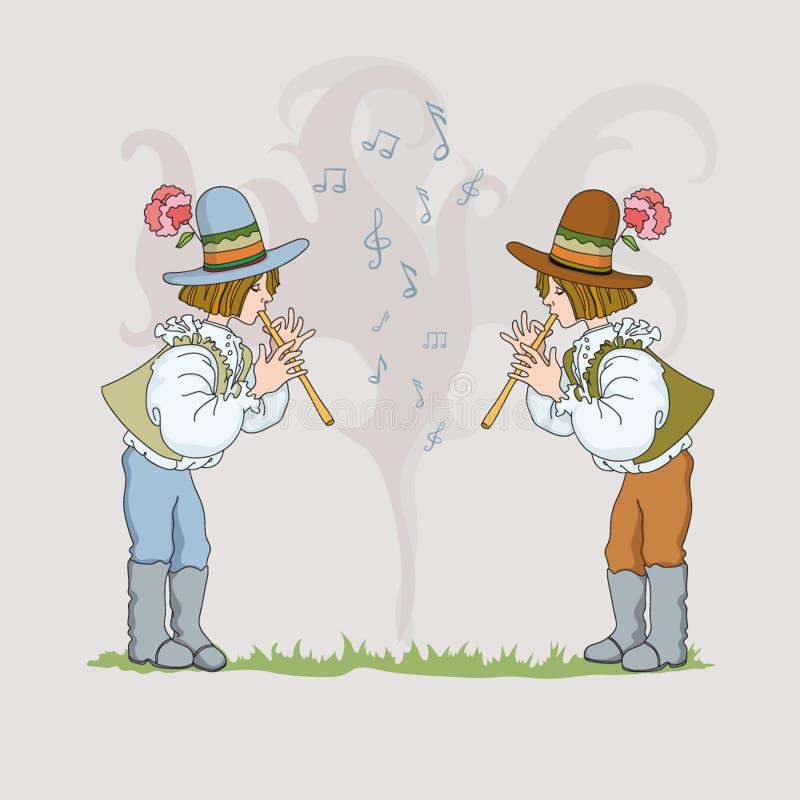 Dois meninos com tubulação ilustração do vetor