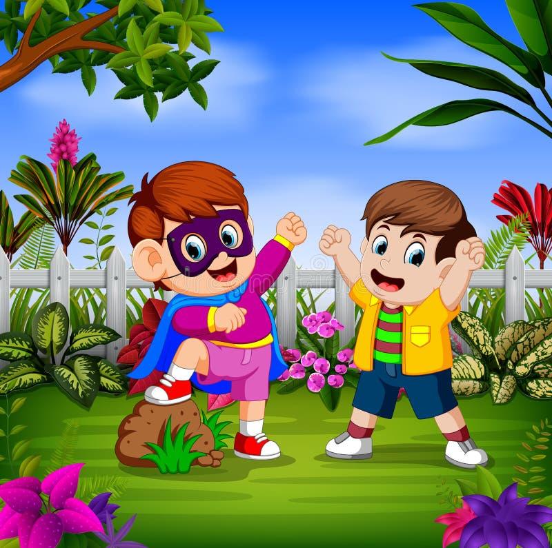 Dois meninos consideráveis estão usando o traje original ilustração do vetor