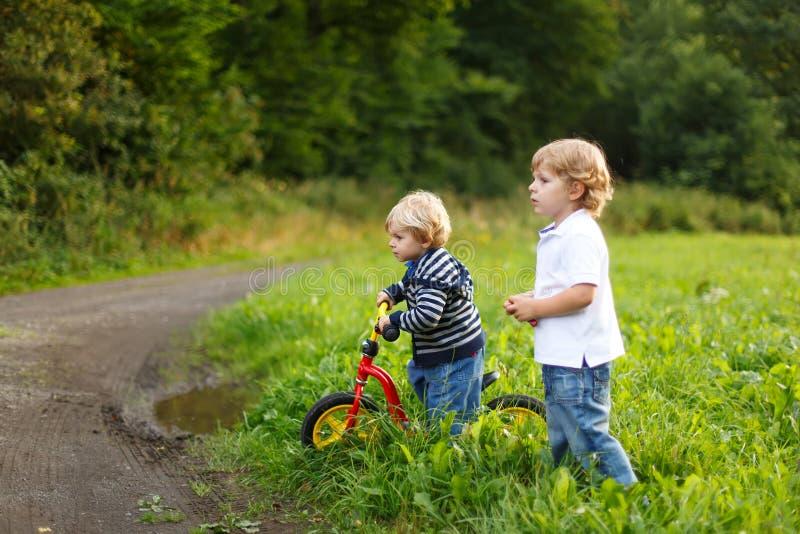 Dois meninos do irmão mais novo que jogam perto da floresta na noite do verão Irmãos bonitos que jogam junto foto de stock royalty free
