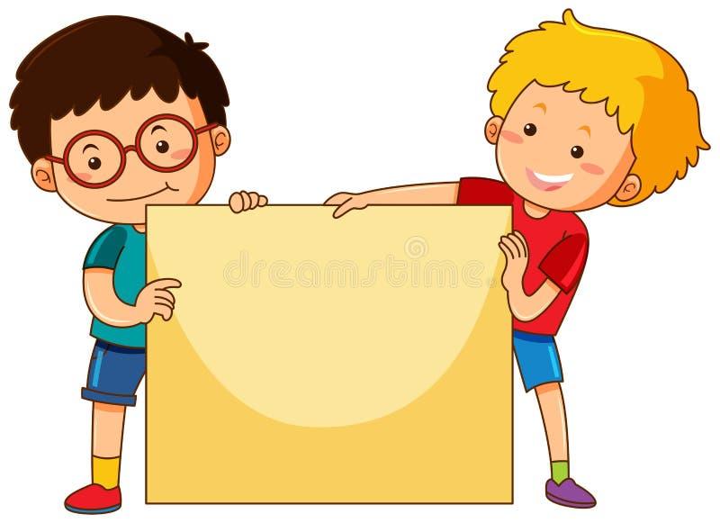 Dois meninos e molde do papel vazio ilustração royalty free
