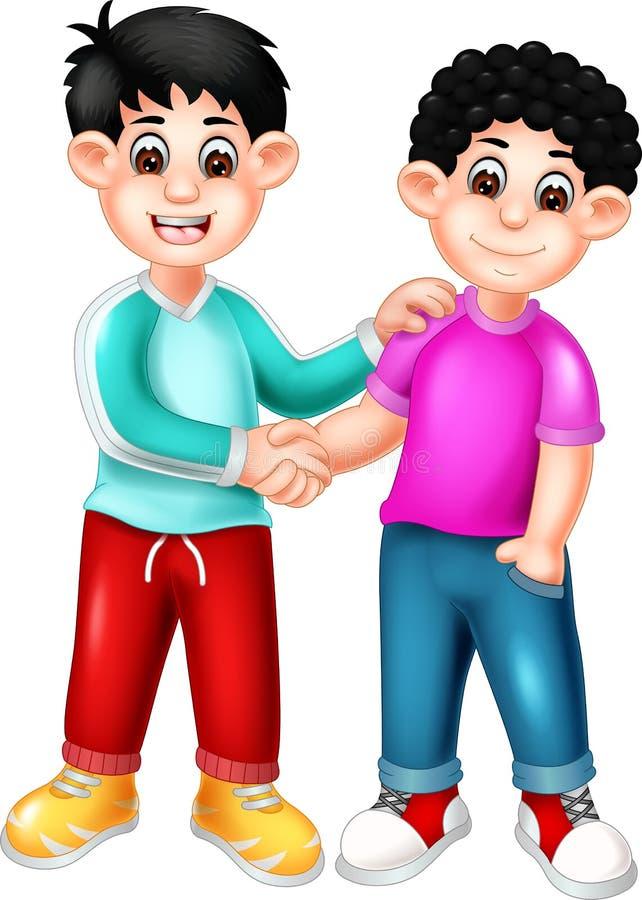 Dois meninos engraçados que agitam desenhos animados da mão ilustração do vetor