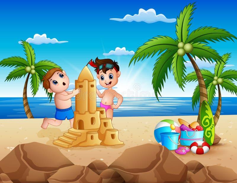 Dois meninos felizes que fazem o castelo da areia na praia ilustração do vetor