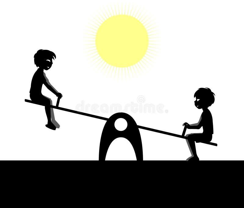 Dois meninos jogam no campo de jogos ilustração do vetor