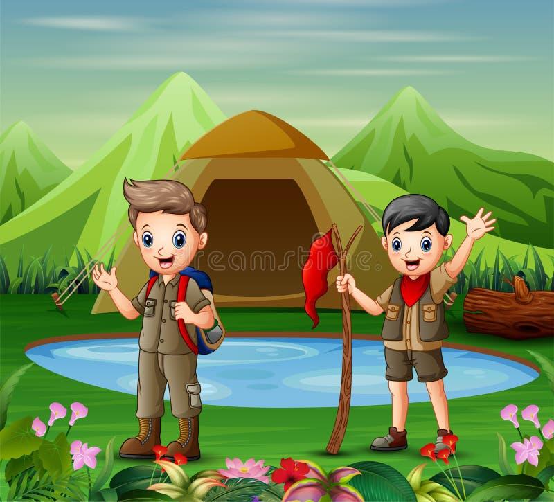 Dois meninos no uniforme de acampamento que exploram uma natureza ilustração royalty free