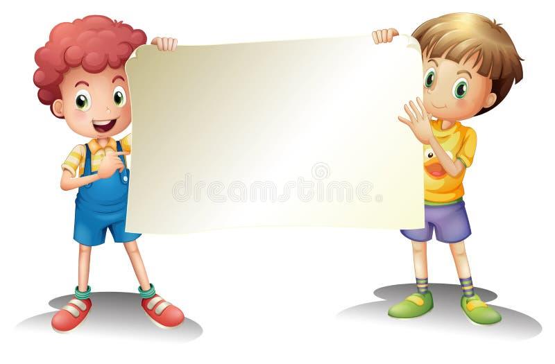 Dois meninos novos que guardaram um signage vazio ilustração stock