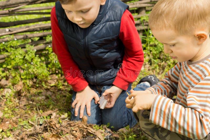 Dois meninos pequenos que tentam iluminar um fogo fotografia de stock royalty free