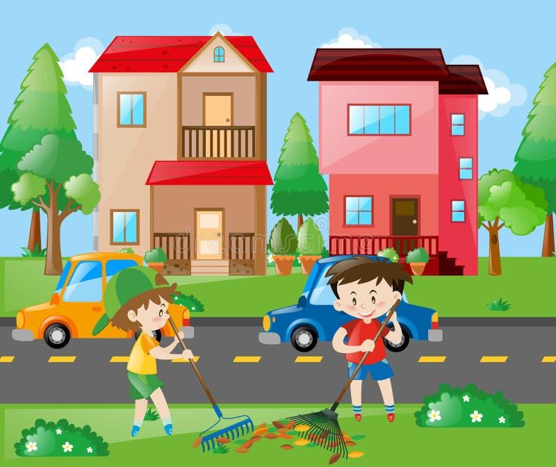 Dois meninos que ajuntam as folhas na jarda ilustração royalty free