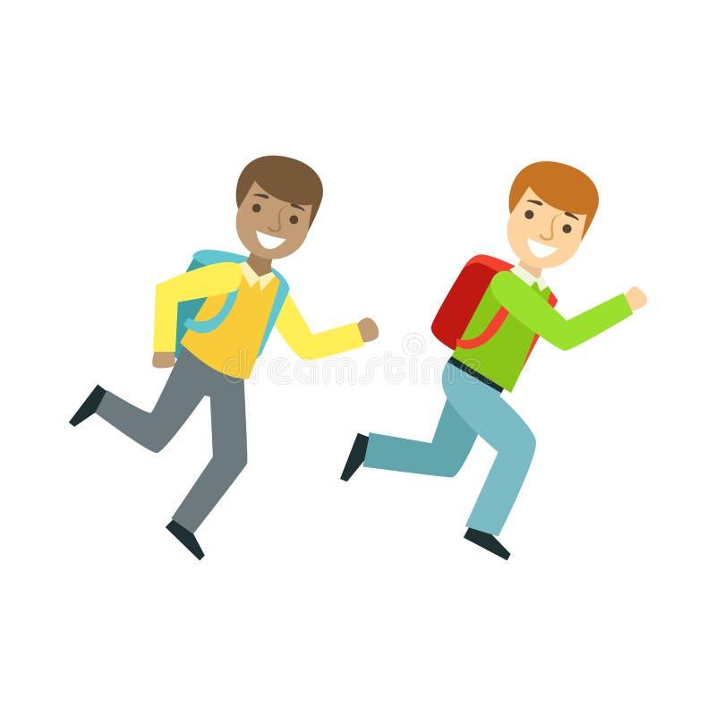 Dois meninos que correm à sala de aula, à parte da escola e à série da vida do erudito de ilustrações de Minimalistic ilustração do vetor