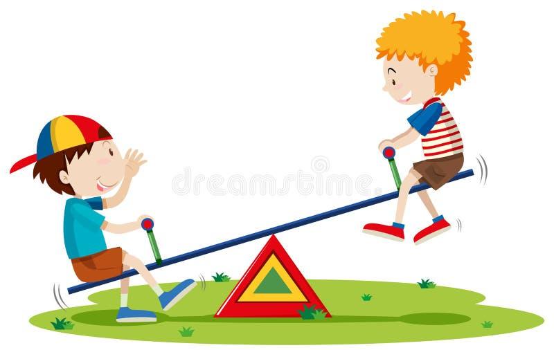 Dois meninos que jogam a balancê no parque ilustração stock
