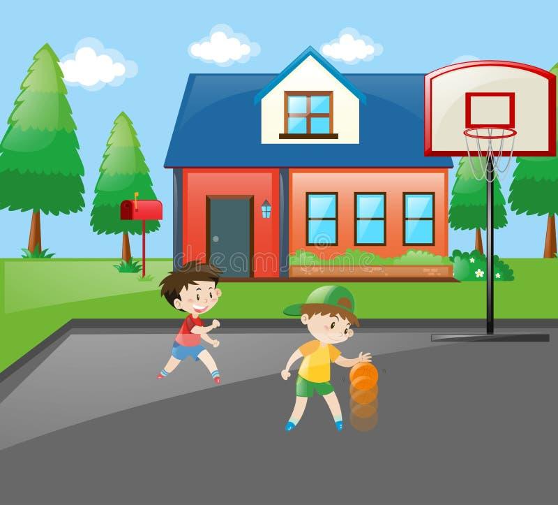 Dois meninos que jogam o basquetebol em casa ilustração royalty free