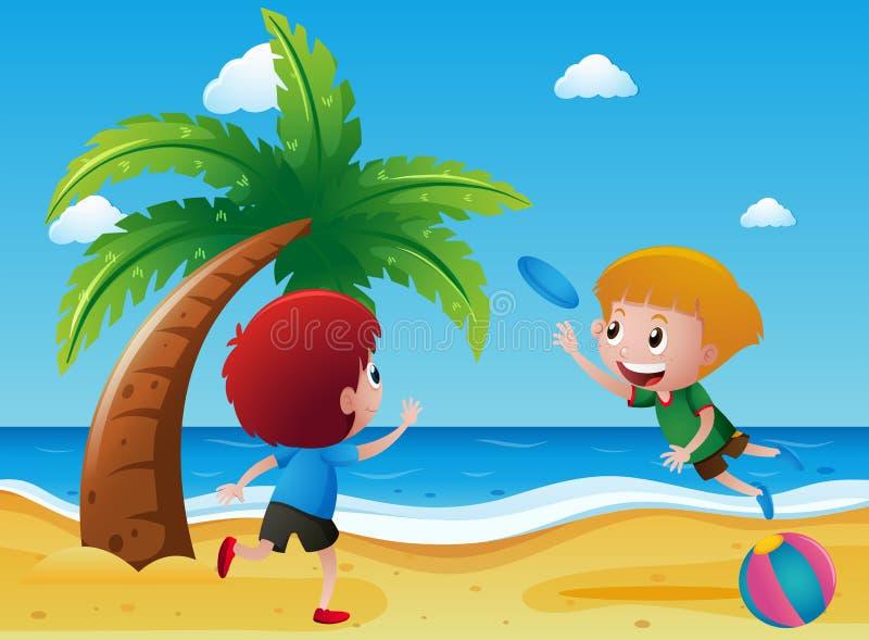 Dois meninos que jogam o frisbee na praia ilustração do vetor