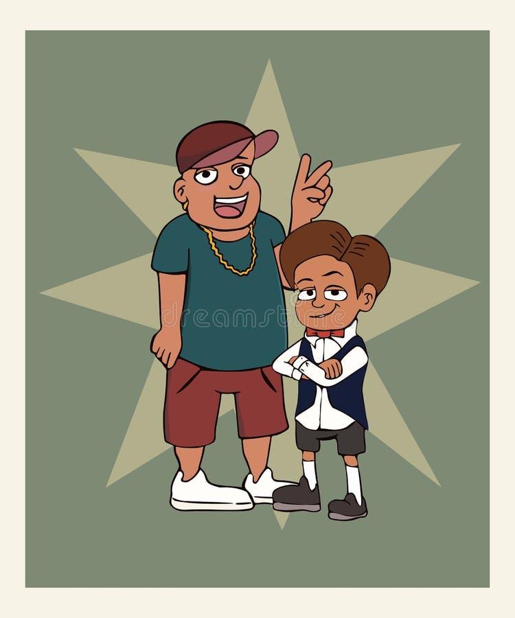 Dois meninos que levantam na foto ilustração royalty free