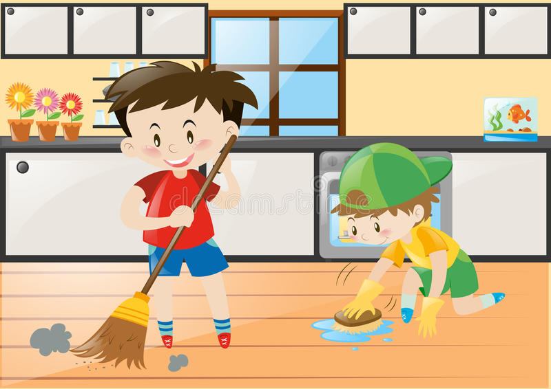 Dois meninos que limpam a cozinha em casa ilustração royalty free
