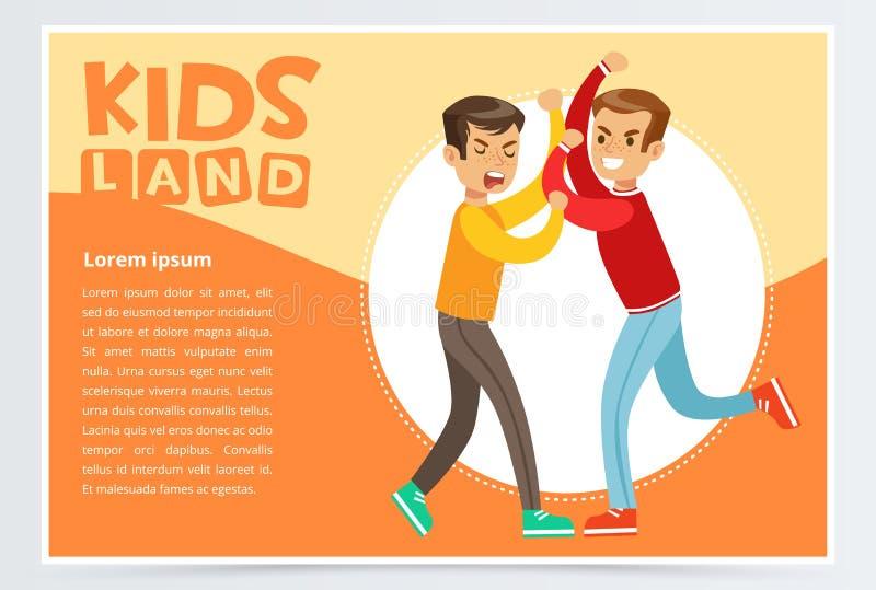 Dois meninos que lutam-se, crianças adolescentes que discutem, crianças aterram o elemento liso do vetor da bandeira para o Web s ilustração royalty free