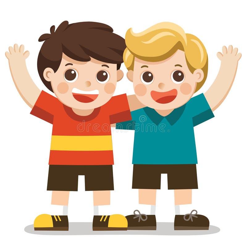 Dois meninos sorriem, abraçando e acenando suas mãos ilustração royalty free