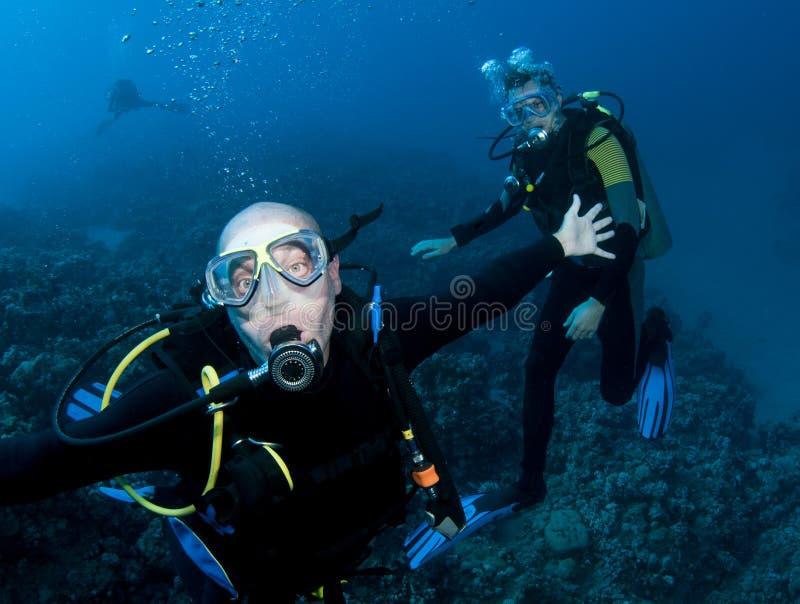 Dois mergulhadores de mergulhador fotos de stock