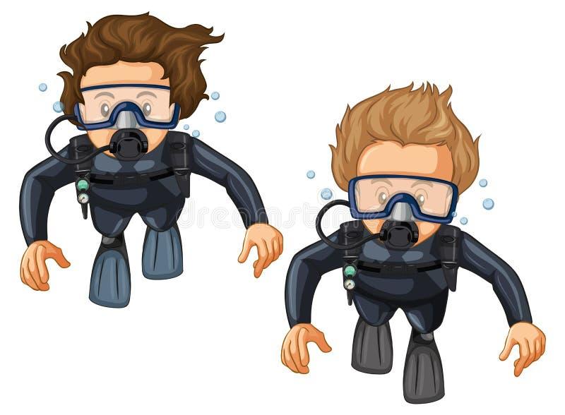 Dois mergulhadores de mergulhador no roupa de mergulho ilustração stock