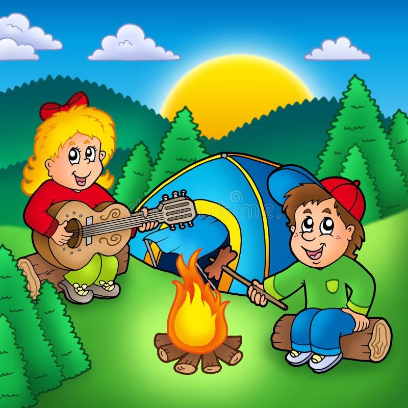 Dois miúdos de acampamento ilustração do vetor
