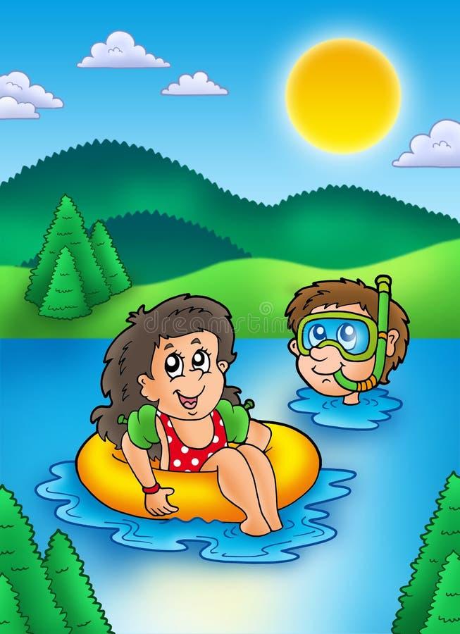 Dois miúdos nadadores no lago ilustração royalty free