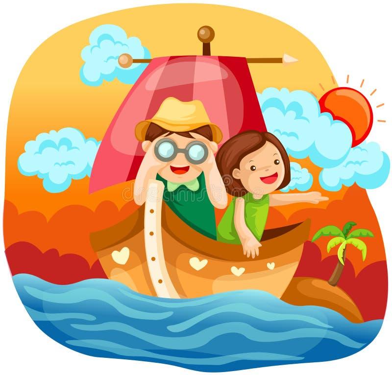 Dois miúdos que navegam no mar ilustração royalty free