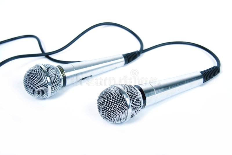 Dois microfones. foto de stock