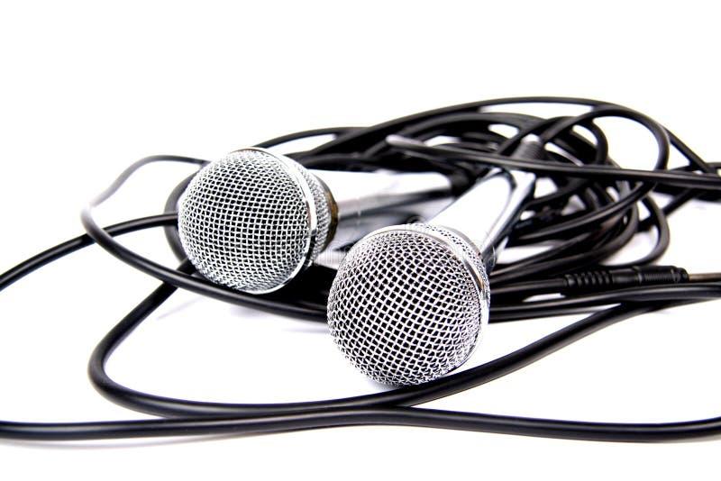Dois microfones. fotos de stock