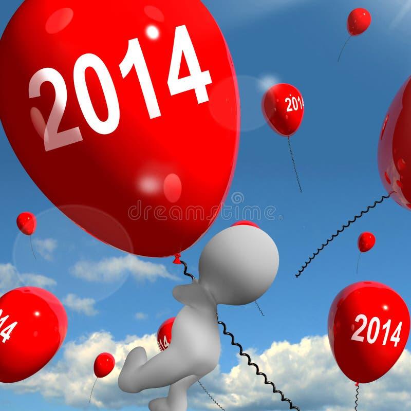 Dois mil quatorze nos balões 2014 ilustração royalty free