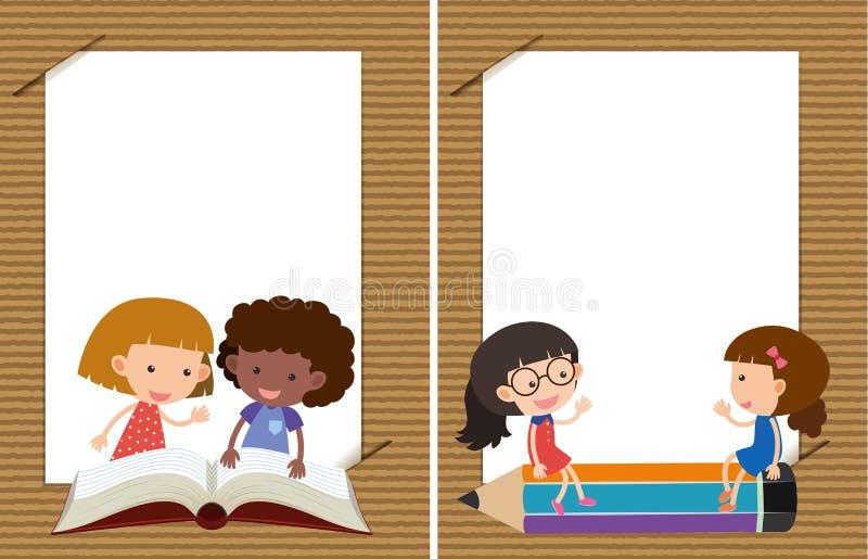 Dois moldes do fundo com leitura das meninas ilustração do vetor