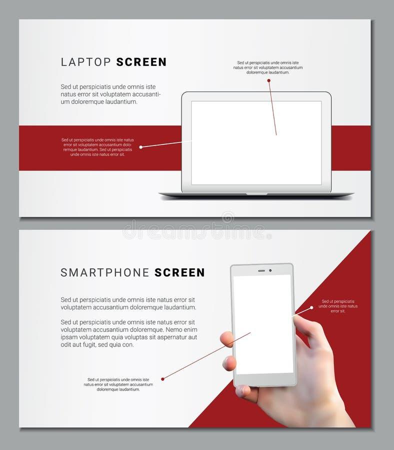 Dois moldes vermelhos do vetor e brancos minimalistic para a apresentação ou inseto com portátil e o telefone vazios ilustração royalty free