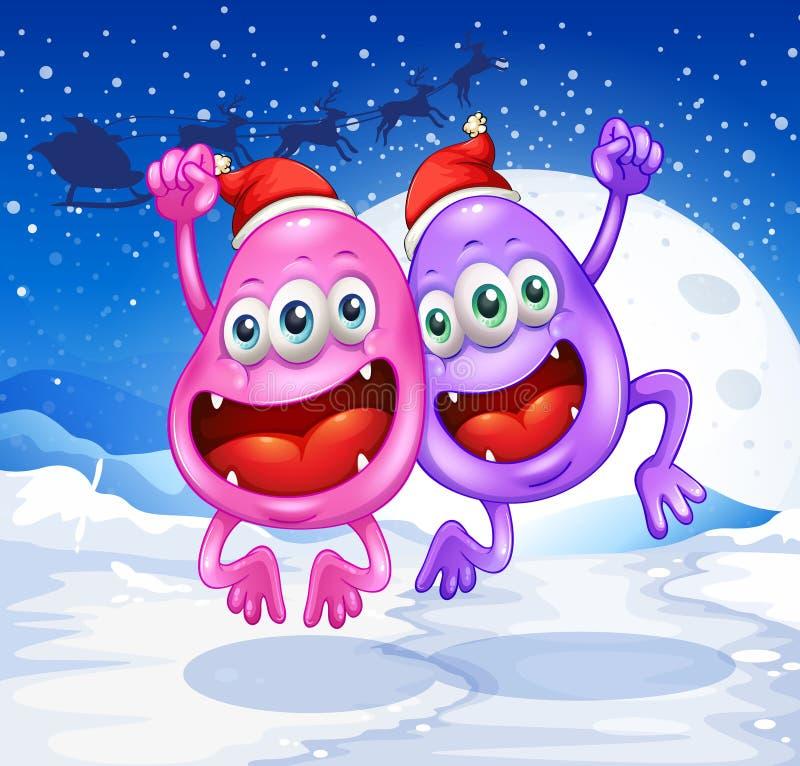 Dois monstro que comemoram o Natal ilustração royalty free