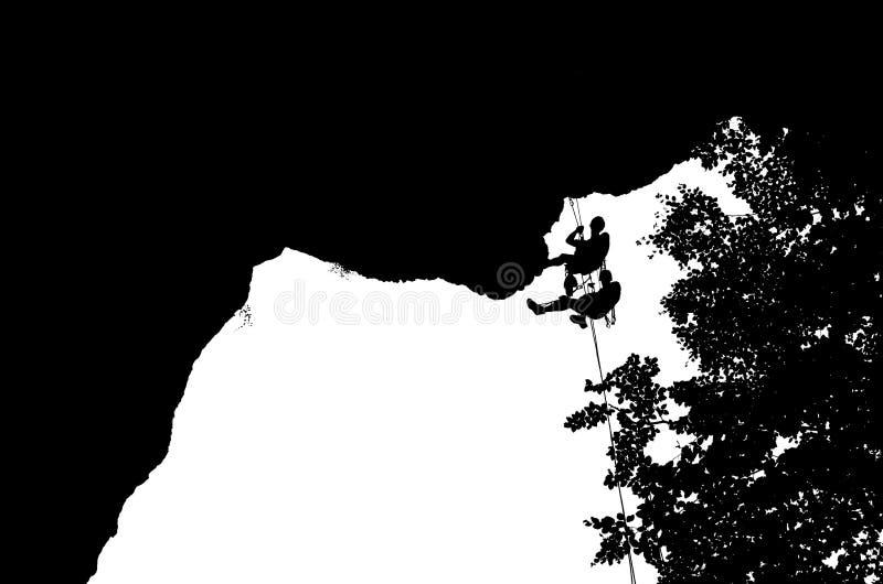 Dois montanhistas que penduram em sua corda em uma parede pendendo sobre - illus imagem de stock