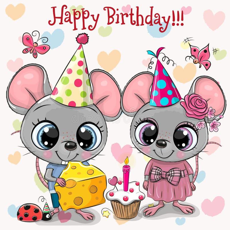 Dois Mouses bonito e joaninha com balão e capotas ilustração stock
