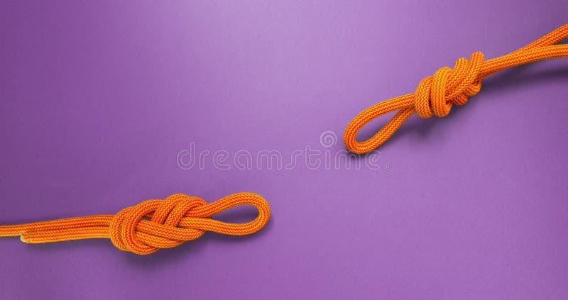 Dois nós da corda de escalada foto de stock