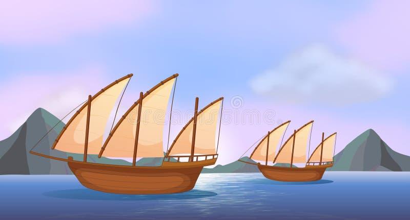 Dois navios de madeira no oceano ilustração stock