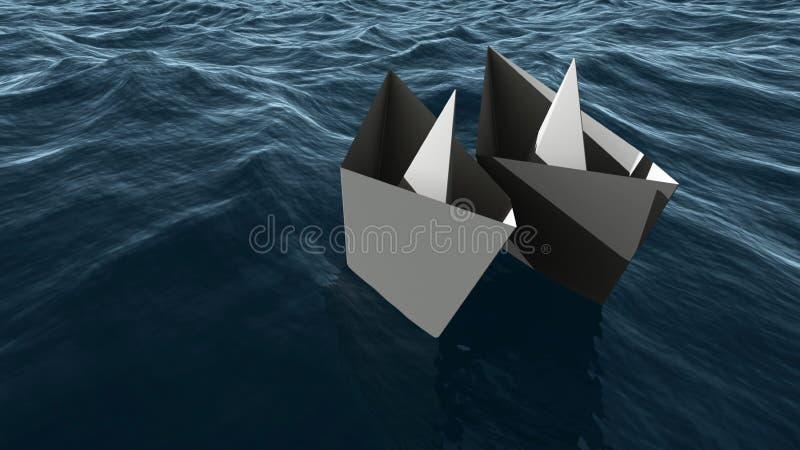 Dois navios de papel no mar ilustração do vetor